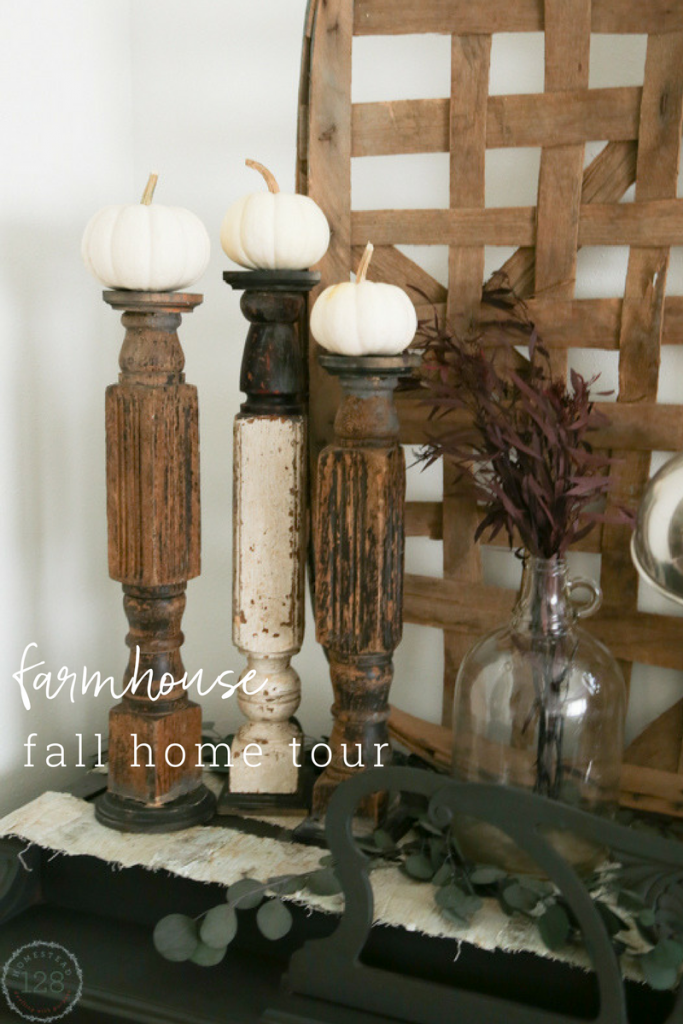 The modern farmhouse fall tour - decorating for fall with deep hues and white pumpkins.