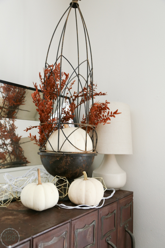 Metal file cabinet with white pumpkins for the fall farmhouse.