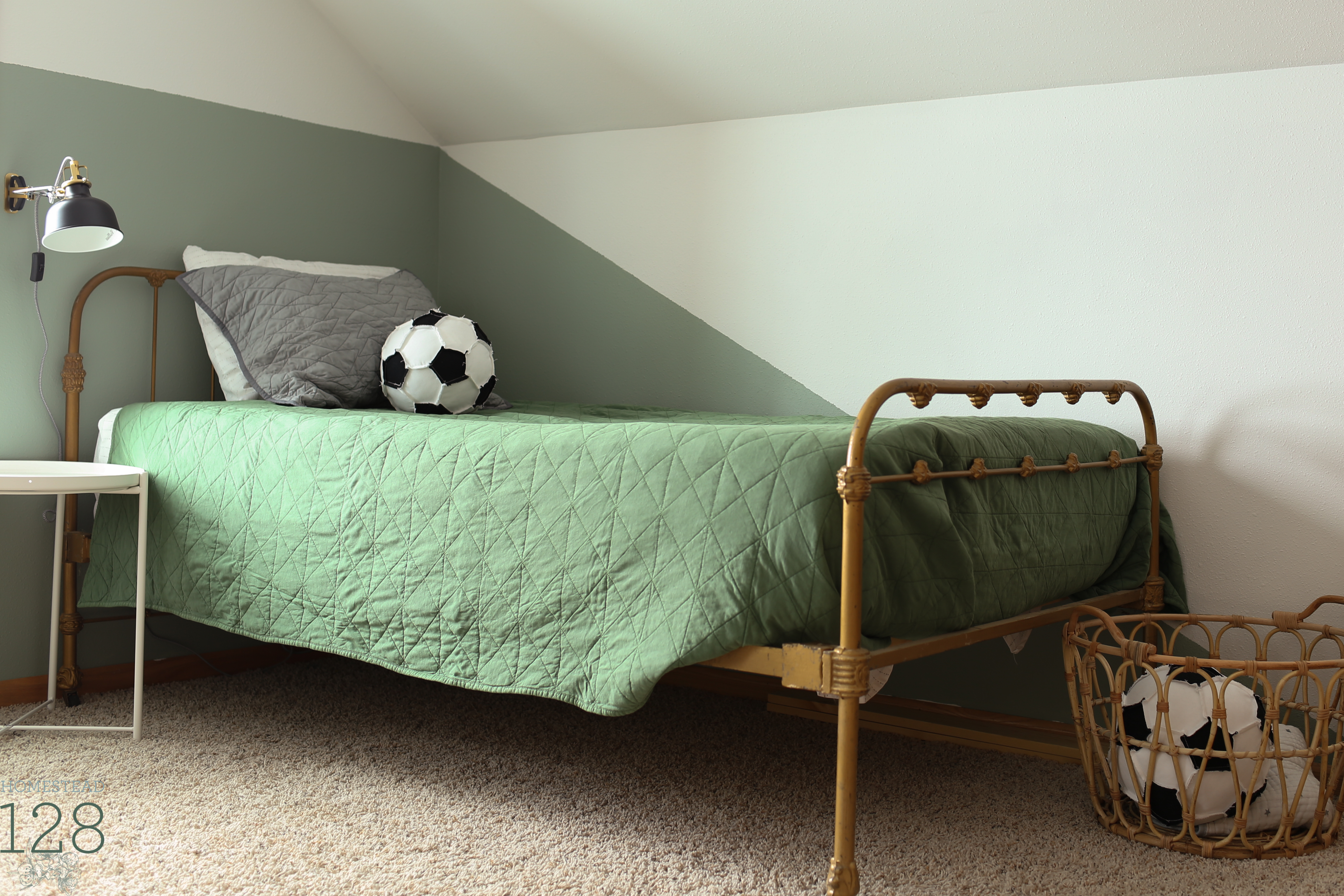 Boys bedroom is both parts industrial and vintage with a fun playful side!