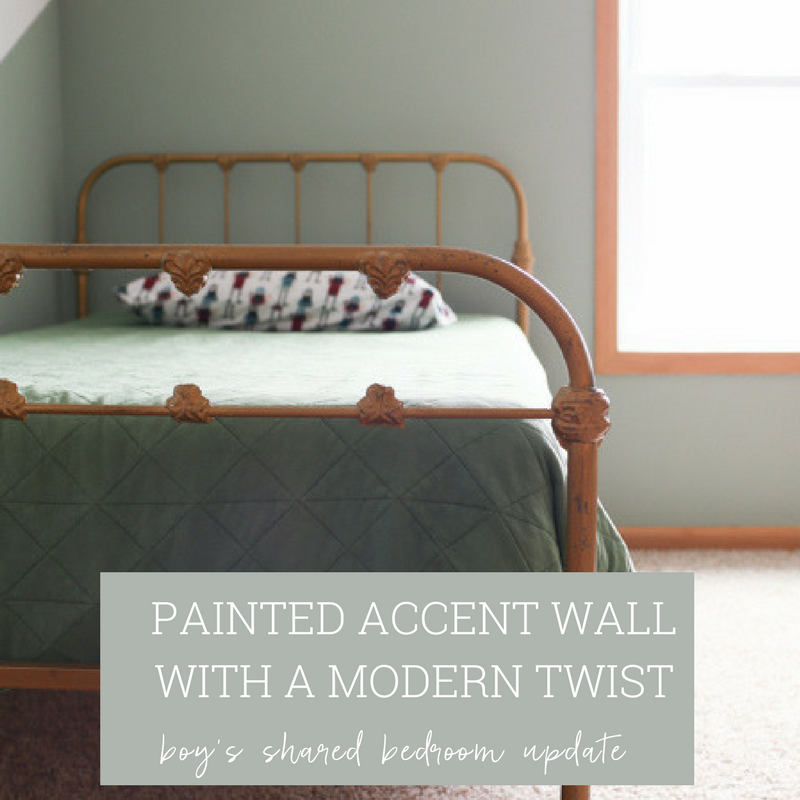 Painted Accent Wall & Vintage Metal Bedframe
