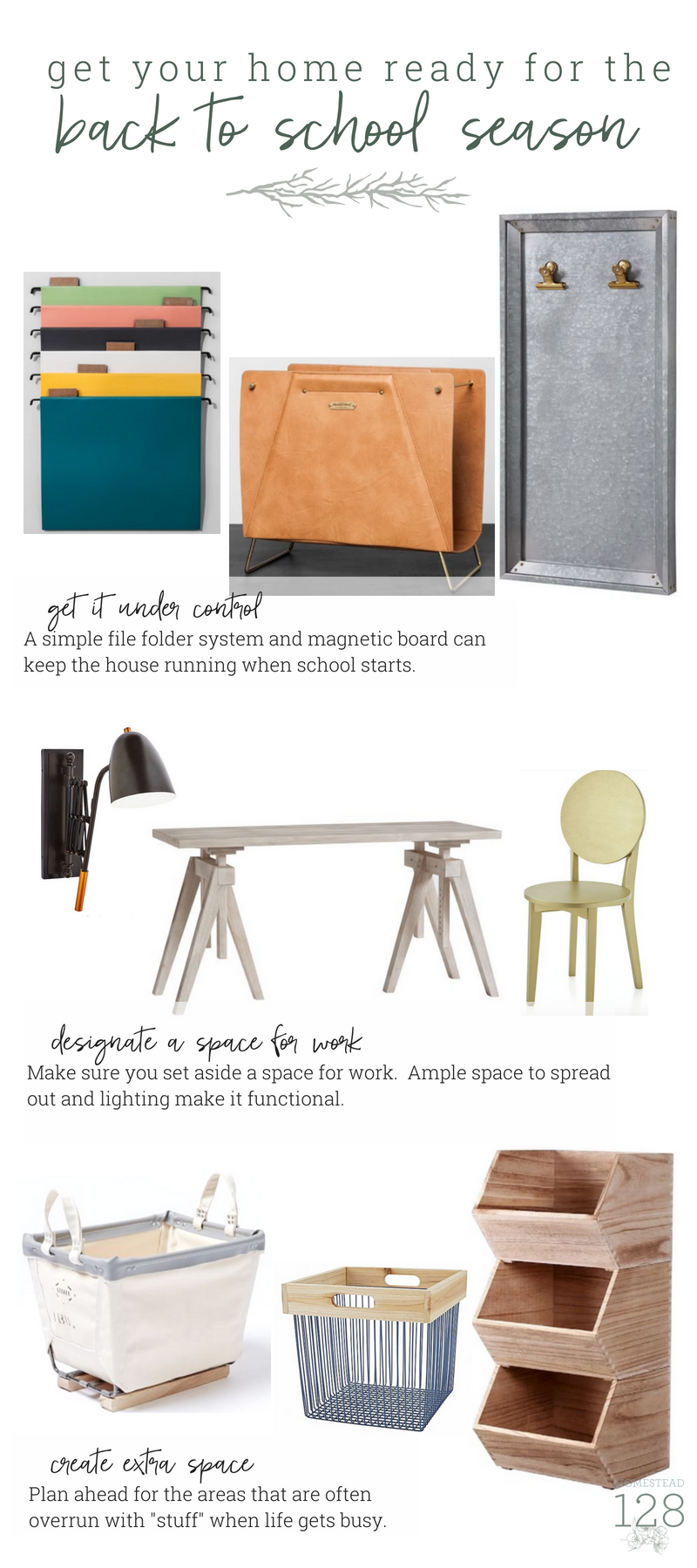 Be ready for back to school season! Plan ahead to create a home that keeps all of the papers, activities, and homework under control.