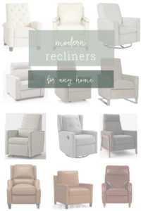 No frumpy recliners here! These modern recliners offer comfort and style.