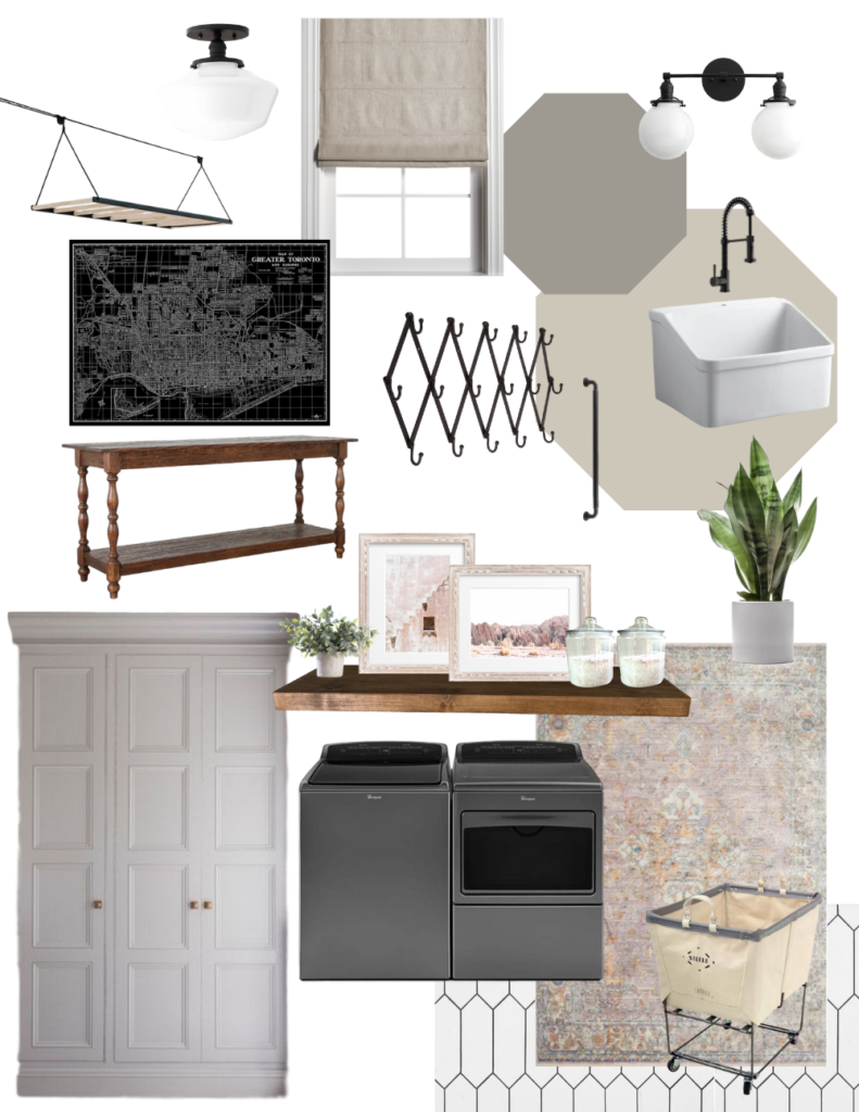 Modern farmhouse laundry room plans - greige and pink room