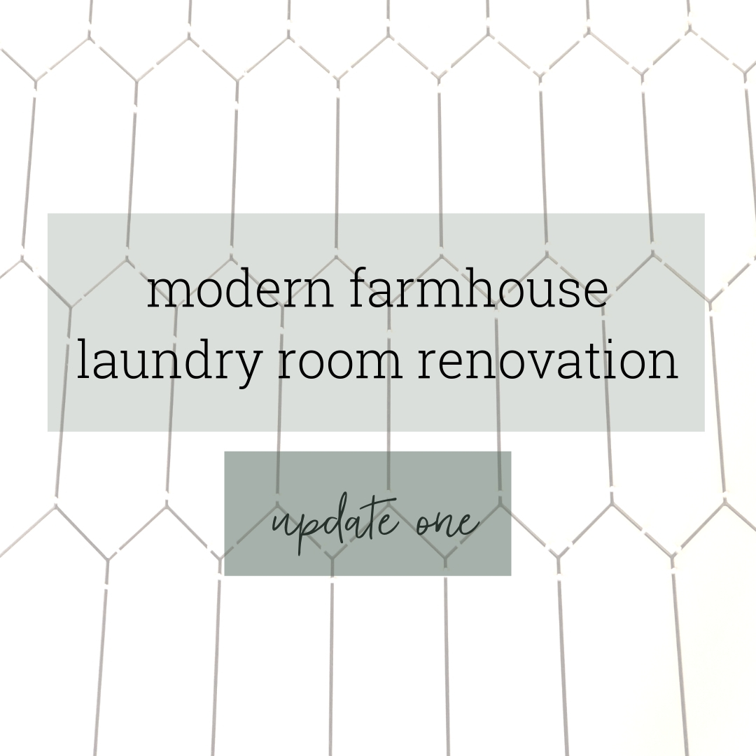 Modern Farmhouse Laundry Room Demo & Tile Floor – One Room Challenge