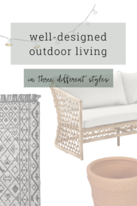 Outdoor living spaces in three different design styles.