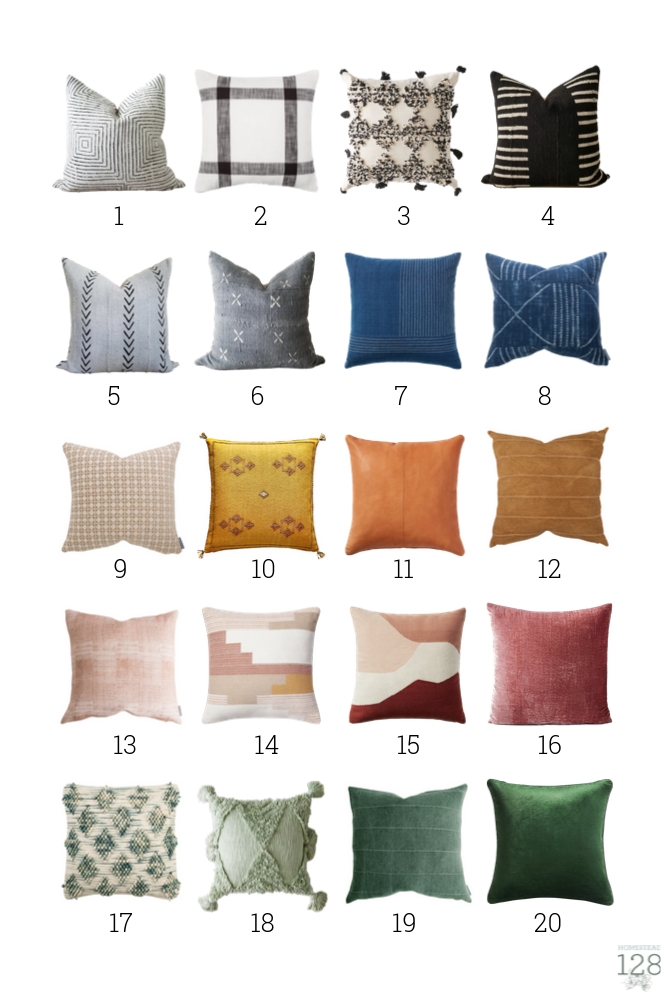 20 modern pillows for any color or style for the bedroom or living room.