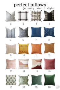 20 pillows in every color and style for your bedroom or living room.