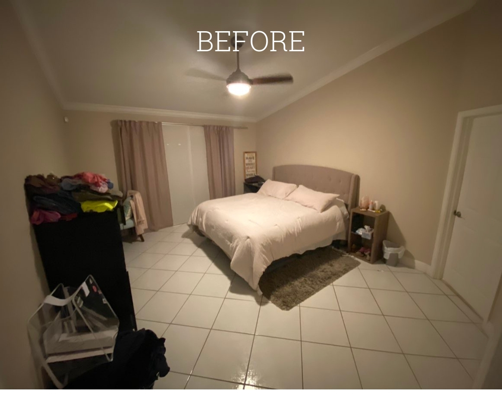 Before updating the bedroom to create a serene escape master bedroom.
