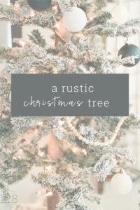 Decorating a flocked alpine christmas tree.