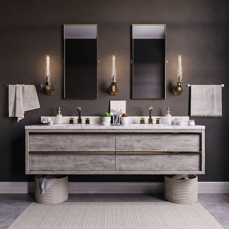 2020 Design Trends: Floating vanities freeing up bathroom space.